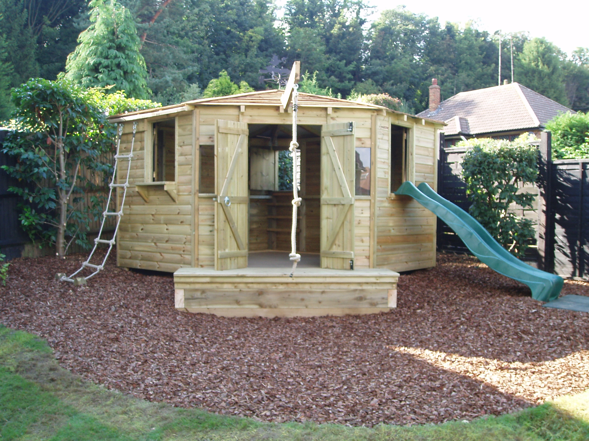 adl timber structures childrens play houses and forts garden